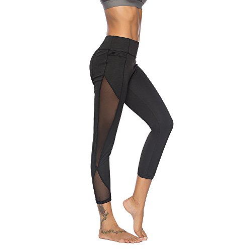 Sanahy Sexy Mesh High Waist Leggings for Women Buttery Soft Tummy Control Leggings for Yoga Sports Gym Workout Running Non See Through PantsBlackM