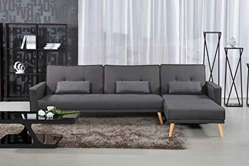 Divano angolare convertibile, design scandinavo, in tessuto, colore: grigio