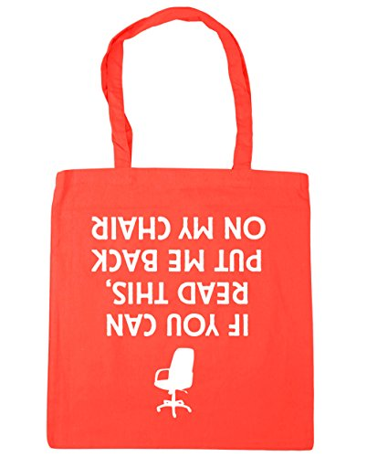 HippoWarehouse If You Can Read This, Put Me Back On My Chair (Printed upside down) Tote Shopping Gym Beach Bag 42cm x38cm, 10 litres