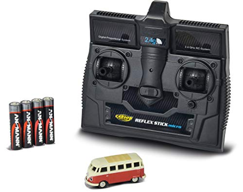 CARSON 500504119 - 1:87 VW T1 Samba Bus 2.4G 100{6b73a8971cb86a876862494faa039c6c308de03eca451fb8432b9006e5466d4c} RTR, Fahrfertiges Modell, 2.4 GHz Fernsteuerung mit Ladeanschluss, inkl. 4xAAA Senderbatterien, mit LED Beleuchtung, Anleitung