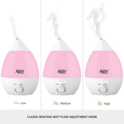Allin Exporters Ultrasonic Humidifier and Purifier Cool Mist with LED Light (2.4L, Pink)