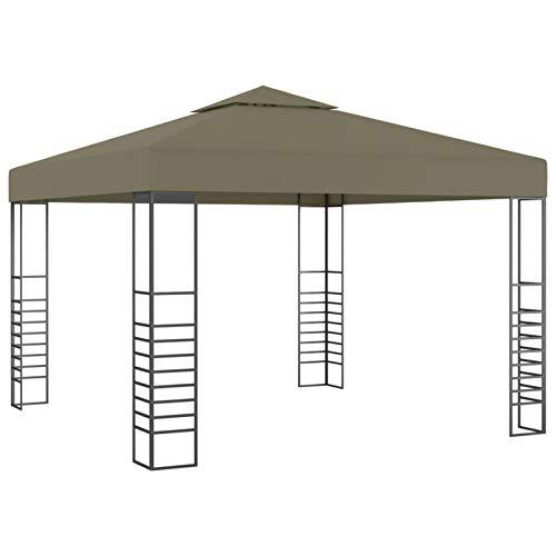 Tidyard Carpas y cenadores para Patio Cenador para Patio Pérgolas de jardín Carpa de jardín con tejado retráctil Gris Taupe 3x3m 180 g/m²