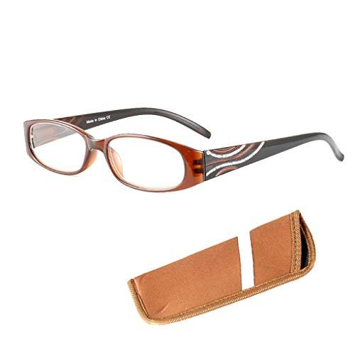 Yunso Lesebrillen Metall Sehhilfe Augenoptik Halbrand Halbrandbrille Brille Lesehilfe für Damen Herren (Braun, 1.00)