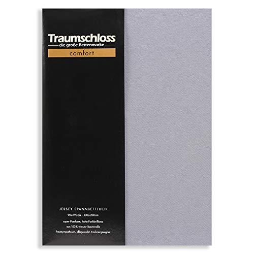 Traumschloss Edel-Jersey Spannbetttuch Comfort 90-100 cm x 200 cm Grau