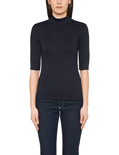 Marc Cain Essentials Damen T-Shirt +E4804J50, Blau (Midnight Blue 395), 44 (6)