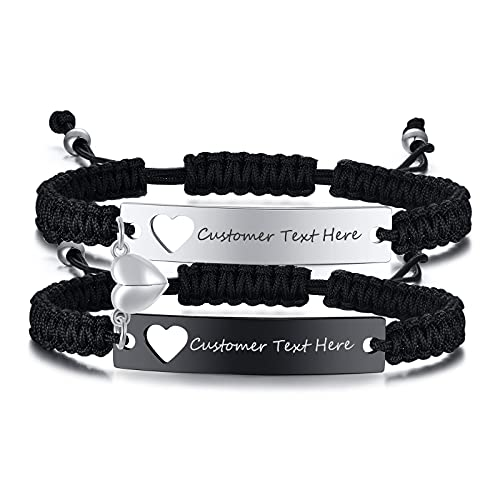 Personalised Mutual Attraction Heart Couple Magnetic Bracelets,Customised...