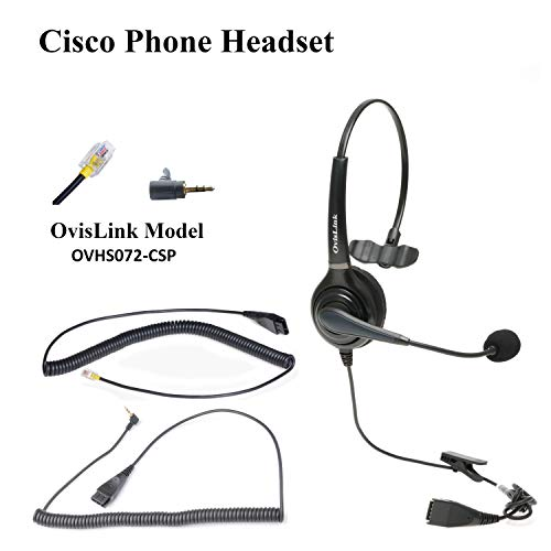 OvisLink Cisco Headset with HD Sound Noise Canceling Microphone and 2 Bottom Quick Disconnect Cords – Call Center Headset for Cisco Phone Models 8821, 7975, 7945, SPA 504g, 525g & More
