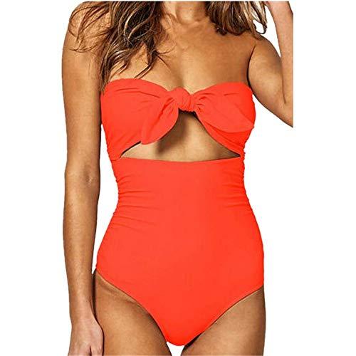 Bikinis Mujer 2019 SHOBDW Traje de Baño Mujer Una Pieza Vintage Bañadores de Mujer Sin Tirantes Push Up Bikinis Monokini Solid Arco Vendaje Bañador Espalda Descubierta(Naranja,3XL)