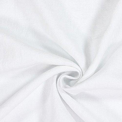 Fabulous Fabrics Reinleinen weiß, Uni, 139cm breit – Leinen zum Nähen von Kissen, Frühlings-/Sommerkleidung und Hemden – Meterware erhältlich ab 0,5 m