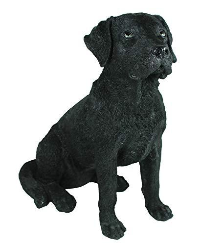 colourliving Labrador Figur Bolle schwarz sitzend Tierfigur lebensecht wirkende Hunde Skulptur Gartenfigur Hundefigur