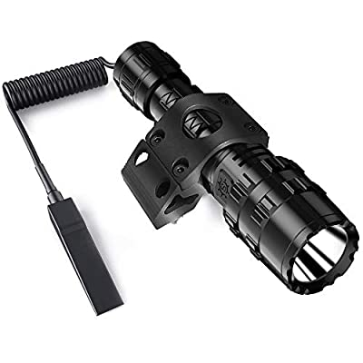 POVAST Tactical Flashlight with MLOK Rail Side Mount, 1200 Lumens LED Hunting Light, Remote Switch Tail, Rechargeable Torch
