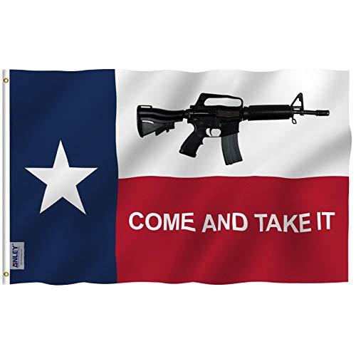 Anley Fliegenbrise 3x5 Fuß kommen und nehmen es Texas Flagge - lebendige Farbe und UV verblassen beständig - Leinwand Kopfzeile und doppelt genäht - M4 Karabiner Fahnen Polyester mit Messing Ösen