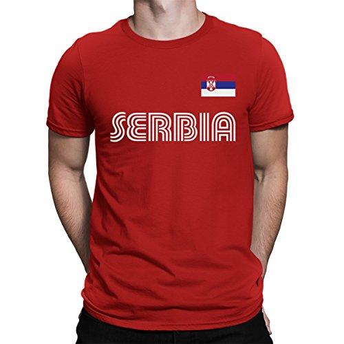 SpiritForged Apparel Serbia Soccer Jersey Men's T-Shirt, Red Large