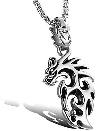 LLJHXZC Collar Collar con Colgante de dragón Dorado de Acero Inoxidable, joyería Colgante para Hombre de Moda Punk Rock