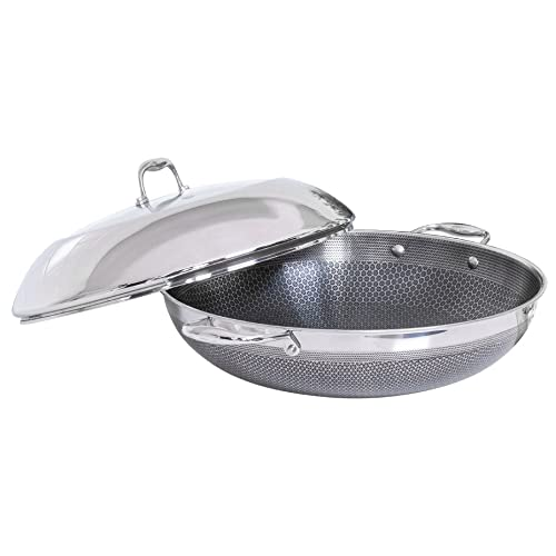 HexClad 14 Inch Hybrid Stainless Steel Wok Pan with Stay-Cool Handle - PFOA Free, Dishwasher and Oven Safe, Works with Induction, Ceramic, Non Stick, Electric, and Gas Cooktops