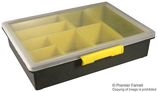 Opbergdoos met vakken, 55 x 240 x 195 mm, geel