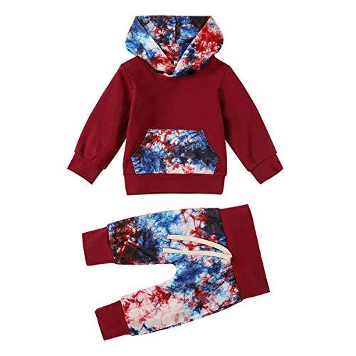 Haokaini Baby Tie-Dye Outfits Langarm Kapuze Hemd Hose Kleidung Set für Kleinkinder