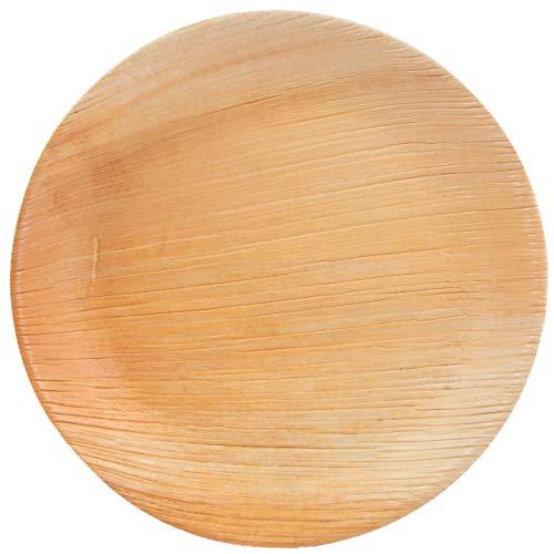 100 Palmblattteller rund Ø25 cm, Palmblattgeschirr Set aus Palmblatt Einwegteller 100% kompostierbar, umweltfreundlich für BBQ, Party, Grillen Outdoor