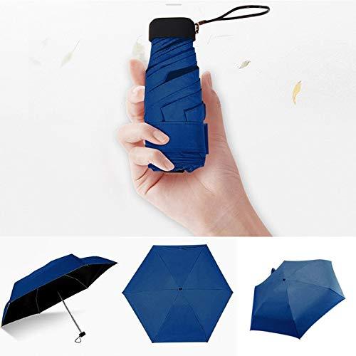 Paraguas ligero de lujo para mujer, con revestimiento negro, paraguas de lluvia de 5 pliegues, unisex, de viaje, de bolsillo, mini paraguas - azul marino, a1