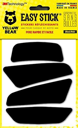 Yellow Bear© Easy Four, Kit 4 Stickers Retro réfléchissants REPOSITIONNABLES, pour Casque Moto, 3MTM Technology, Noir