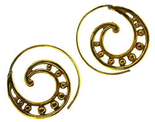 CHICNET Pendientes en espiral de latón dorado envejecido, 30 mm, unisex, para mujer, vintage, tribal, celta, vikingo