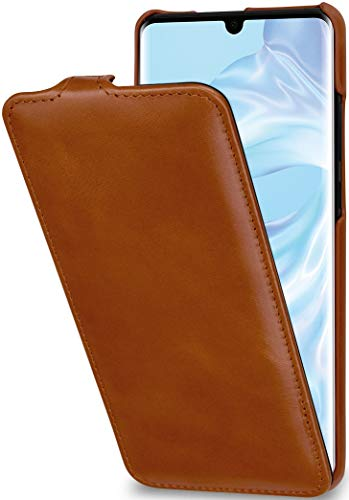 StilGut UltraSlim kompatibel mit Huawei P30 Pro Hülle - Huawei P30 Pro Flip Hülle aus Leder, Klapphülle, Handyhülle, Lederhülle - Cognac