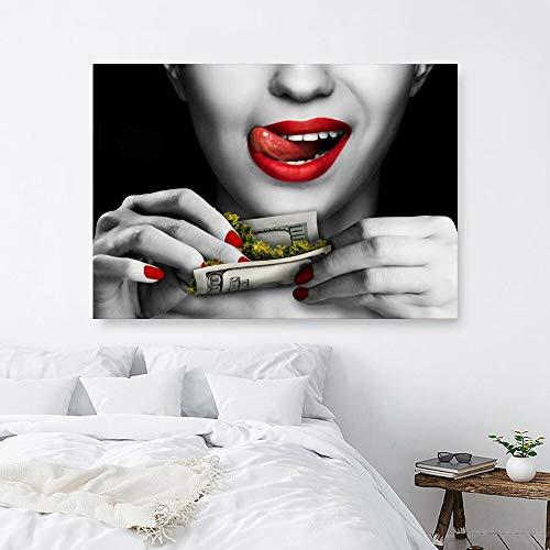 Puzzle 1000 piezas Imágenes de labios rojos mujer dinero puzzle 1000 piezas adultos Juego de habilidad para toda la familia, colorido juego de ubicación.50x75cm(20x30inch)