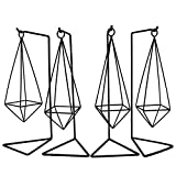 4 Pcs Air Plant Holder, Black Anti-Rust Metal Air Plant Stand, Modern Geometric Style Air Plant Table Holder (Stand Included)