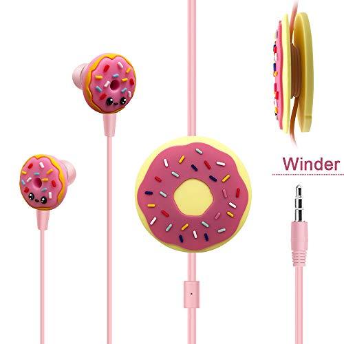JYPS in Ear 3D Cute Cartoon Donut/Unicorn Horse Headphones Mic Earphone Case Hands-Free Apple,Samsung,Android Smartphones Mp3 (Donut)