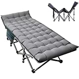 ABORON Camping Cots Adults, Updated Folding Cots Portable, Heavy Duty Sleeping Cots for Heavy People, with Carrying Bag (75' L x 28' W,...