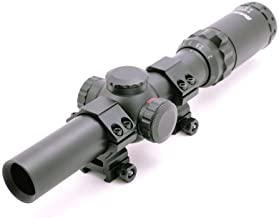 Hammers 1-4x24 Wide View HOG Rifle Scope with Illuminated Quick Donut Circle Dot Pig Reticle and Weaver Rings