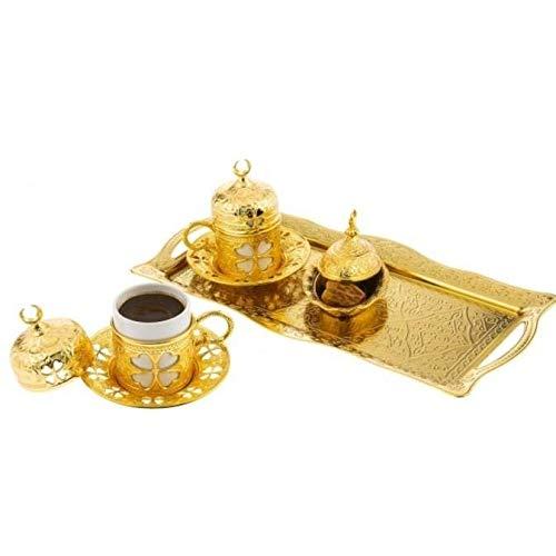 Premium Qualität Porzellan & Gold Messing türkisch arabisch griechischer Stil Authentische Espresso Kaffeetasse Untertasse Servierset von 2