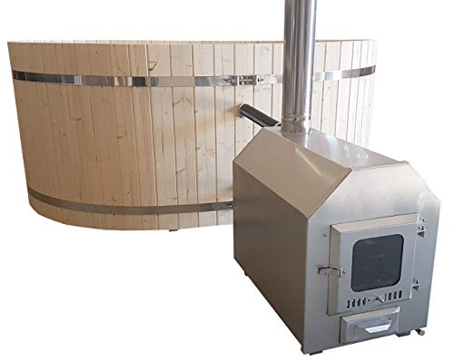 Pool Heizung Ofen mit Holz Edelstahl V2A mit Zubehör Schwimmbad Stahlrahmenbecken Badefass