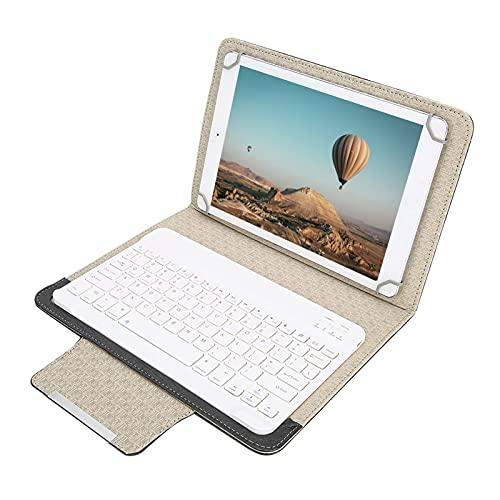 Kafuty Tastiera Universale da 9,7-10,1 Pollici (Bianco) + Cover Protettiva in Pu (Nera) con Supporto, Tablet Telefono Cellulare Tastiera Impermeabile Tastiera Wireless Bluetooth, Plug And Play
