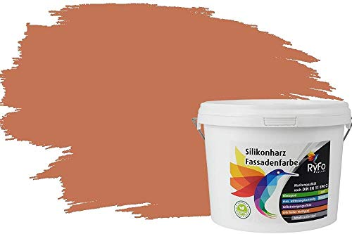 RyFo Colors Silikonharz Fassadenfarbe Lotuseffekt Trend Orangetöne Terracotta 3l - bunte Fassadenfarbe, weitere Orange Farbtöne und Größen erhältlich, Deckkraft Klasse 1