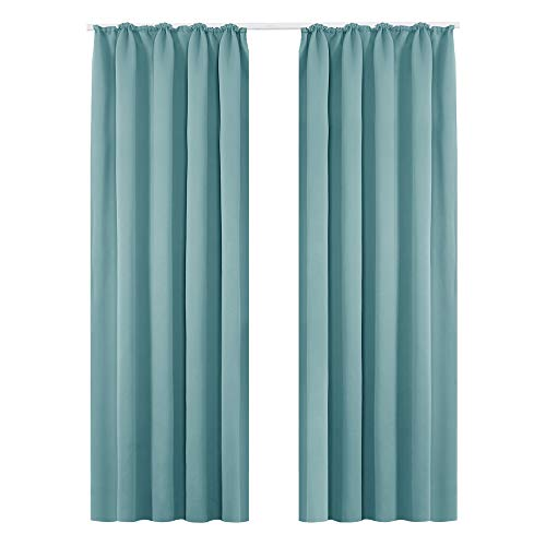 Deconovo Vorhang Blickdicht Gardinen Lärmschutz mit Kräuselband 245x140 cm Himmelblau 2er Set