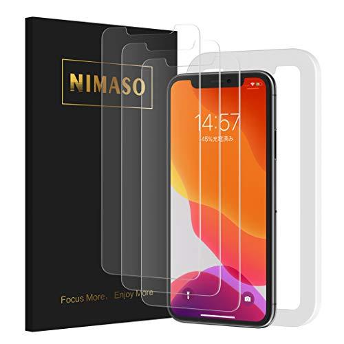 【ガイド枠付き】【3枚セット】 Nimaso iPhone 11 / iPhone XR 用 強化ガラス液晶保護フィルム ( 6.1 インチ iPhone11 / iPhoneXR用 保護フィルム )