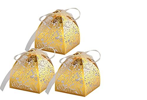 rosenice Wedding Favors Geschenkboxen 50 Stück Hohle aus Handwerk Papier Hochzeit Geschenkbox für Süßigkeiten Süßigkeiten mit Bändern (golden)