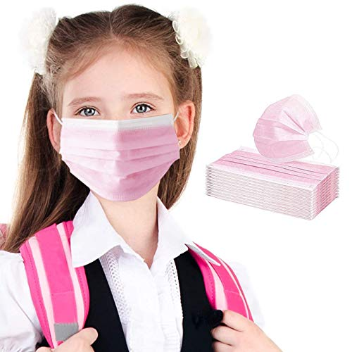 Gokeop 3-Layer Non-Woven Kids Disposable Face Protection Products Used for School and Outdoor Dust-Proof Hypoallergenic Oral Hygiene Protective Pads for Children Boys and Grils (50 Pcs, Pink)
