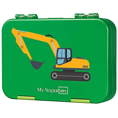 My Vesperbox – Bento Box Kinder - Lunchbox mit 4+2 Fächern - extrem robust – Brotdose – Brotbox ideal für Kindergarten und Schule… (Grün - Bagger)