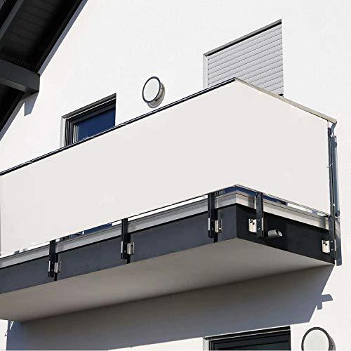 Muchas Balcón Pantallas Protectoras, Resistente Impermeable, con Cierre Cuerda Ojales, para Jardines, Patios terrazas, jardín al Aire Libre - Blanco 0.8x5.5m