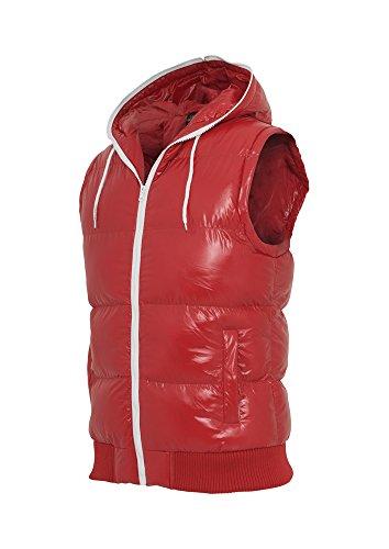 Urban Classics Hooded Bubble Veste sans Manches, Multicolore (Red/WHT 00202), Medium Homme
