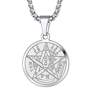 FaithHeart Pentacle Necklace for Men Tetragrammaton Eliphas Levi s Pentagram Protection Pendant Amulet Wiccan Jewelry Silver