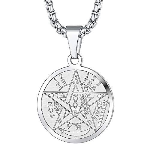 FaithHeart Pentacle Necklace for Men, Tetragrammaton Eliphas Levi's Pentagram Protection Pendant, Amulet Wiccan Jewelry Silver