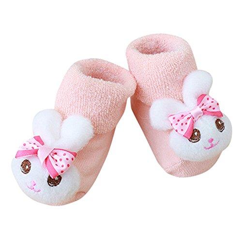 Covermason -Vêtements grossesse Chaussettes Anti-Slip Warm Chaussettes Bébé Fille Garçon Naissance Coton Hiver Epaissir Chaussettes Enfant,Pantoufle Bottes Des chaussures (C, 0-1 Ans)