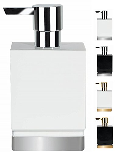 Spirella Seifenspender Roma Flüssigseifen-Spender Porzellan 300ml Weiß/Silber