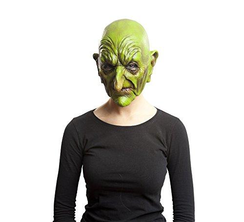 Máscara de brujo viejo sin pelo, color verde.
