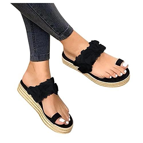 Riyueyi Sandalias para Mujeres Summer T Strap Beach Sandals Casual Comfy Gladiator Sandals 2021 Placa de tacón Plano Flip Shoes,Negro,US7/EU38