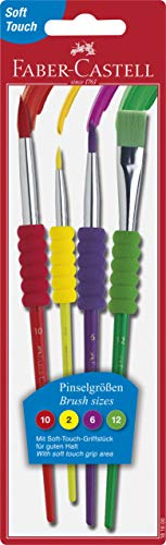 Faber-Castell Soft Grip Paint Brush Set - Kids Paint Brushes - 4 Assorted Paintbrushes for Watercolor and Tempera Paint (F181600)
