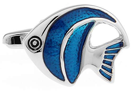 Daesar Hemd Manschettenknopf Silber Blau Fisch Herren Hochzeit Manschettenknöpfe Edelstahl Geschäft Geschenk mit Box